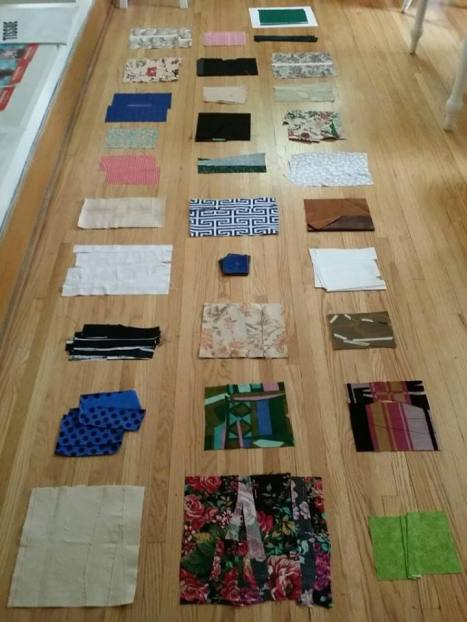 These collaged fabrics will make up the pages of one of the many(!) artist books Erika DeFreitas is creating during her residency at Also As Well Too.